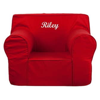 kids chairs personalized oversized solid red kids chair [dg-lge-ch-kid-solid-red-emb-gg] ZKRWSMG